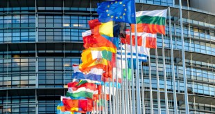 European flags in front of EP Building in Strasbourg